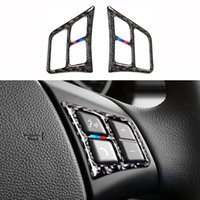 2 adet / takım Araba İç Direksiyon Düğmeleri BMW E90 E92 320i 318i 325i 3 Serisi için Çıkartmalar 2005-2012 Karbon Fiber Aksesuarları