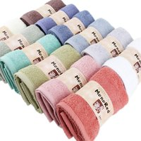 Algodón súper absorbente toalla de algodón liso 74x33cm cara de baño toalla de baño espeso suave baño toallas de playa 17 colores gwe7622