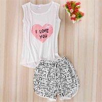 Women Sexy Lingerie cute cartoon Pyjamas Sleepwear Shirts+Shorts Underwear Nightwear Set Sleeveless Pajamas 210607