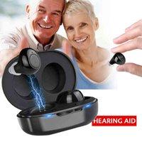 1 paire USB mini rechargeable à l'oreille portable portable Aides auditives invisibles Aide adjointe Tonalité ajustable amplificateur sonore pour personnes âgées sourdes 210628