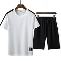 New Tracksuit Men Summer Hot Sale Men's Sets T Shirts+shorts Two Pieces Sets Casual Tracksuit Male O-Neck Solid Sportswear M-4XL