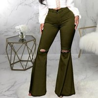 Women's Jeans Sexy Vintage Hole Ripped Women Wide Leg Denim Flare Slim Pants High Waist Party Casual Trousers Bodycon Bell Bottoms Pant