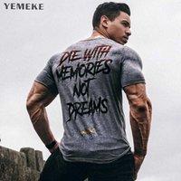 YEMEKE мужчины с коротким рукавом хлопчатобумажная футболка летние повседневные моды спортивные залы фитнес бодибилдинг футболка мужской тонкий тройник топы одежда 210707