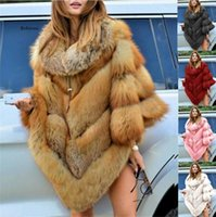 Mulheres Faux Fur Collar Cape Nova Moda Poncho Inverno Grande Capa De Malha Quente Shawl Grande Pêndido Dovetail Cardigan