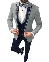 Costumes de costumes masculins Solovedress 2021 costume trois pièces Slim revers Personnalisation de la soirée de soirée (Blazer + gilet + pantalon)