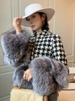 OFTBUY 2021 New Luxury Winter Jacket Women Belt Coat Natural Real Silver Fox Fur Plaid Thick Warm Fashion Outerwear Streetwear