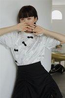 2021 New Jacquard Frog Button Blanco Elegante Mensaje Mujer Satin Summer Top y Blusa Cheongsam Estilo chino 6J1L