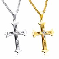 Pendant Necklaces Drop Religious CZ Stainless Steel Three Layers Of Titanium Large 33*49mm Cross Mens Necklace Rolo Chain