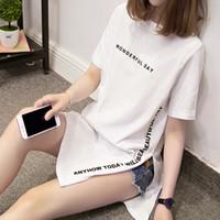 NKANDBY Plus tamanho maravilhoso dia impressão longa camisas de verão mulheres soltas femininas femme tops de algodão tshirt manga curta senhoras t-shirt 210302