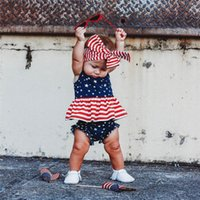 Conjuntos de ropa 3pcs 0-3years Baby Girls Trajes de algodón, Born American Flag Print Independence Day Tank Tank + Shorts + Bow Headband