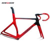 NowGonow Mulheres / Homens Ciclismo Fibra De Carbono Estrada Road Bike Quadro Vermelho / Preto BB92 44mm Racing Gear Incluindo Handlebars Seatpost