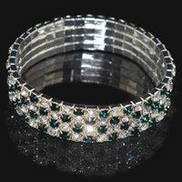 Braccialetti di fascino 2/3/4 ROWS Full Strass Braccialetto lucido per le donne Braccialetto di cristallo elasticizzatore Elastic Wedding Bridal Jewelry J0722