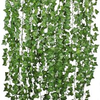 12Pcs Artificial Ivy Vine Hanging Garland False Leaf Vine Family Garden Wedding Wall Decoration, 84 Feet, Green
