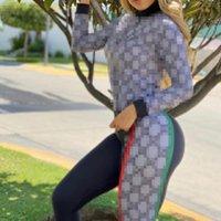 المرأة رياضية العلامة التجارية الشتاء شابة سيدة الرياضة مريحة أزياء المرأة الرقمية المطبوعة عارضة قطعتين مجموعة سستة سترة مع السراويل