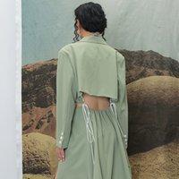 2021 Nuevo Diseñador Trench Green Largo Asimétrico Abrigo Abrigo Cortado Cintura V Cuello Capa Abrigo Mujer Moda Ropa 4kfq