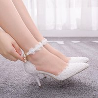 Dress Shoes Women's crystal high heels, wedding shoes in big sizes for women, with white lace, JVO7