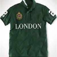 Летние мужчины поло футболки поло с большой лошадью вышивка город Милан Рим Нью-Йорк Париж Лондон Дубай Токио мода спортивный футбол