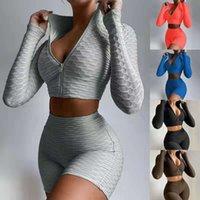 2021 Trajes de verano Trajes de verano Trajes de yoga Camiseta de manga corta + Pantalones cortos Color sólido 2 piezas JOGGER Sistemas de ropa de gimnasio Tallas grandes
