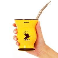 Becher Original Yerba Mate Ceramic Cups Argentinien Gourds Natürliche Form mit Stroh Edelstahl Tasse 200ml