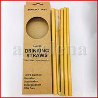 12pcs / 세트 환경 친화적 인 대나무 짚 재사용 가능한 마시는 밀짚 + 클리너 브러시 빨대 가방 파티 웨딩 바 도구 음료 빨대