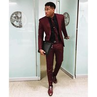 Men's Suits & Blazers Burgundy Two Pieces Mens Slim Fit Wedding Grooms Tuxedos One Button Formal Prom Suit Jacket And Pants With Tie