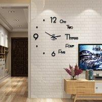3D Akrilik DIY Duvar Saati Modern Tasarım Büyük Dekoratif Kuvars Saatler Sessiz Hareketi Oturma Odası Dekoratif Saatler Siyah Altın 674 K2
