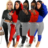 Women panelled outfits casual Two piece sets sports Tracksuits fall winter clothing letter print long sleeve hoodies+leggings 4222