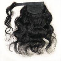 Onda corporal cabello humano cola de caballo envoltura alrededor de la peluquería natural para las mujeres negras Magic Paste Ponytail Malaysian Remy Wavy Clip en extensiones
