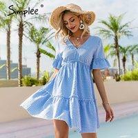 SIMPLEEE V Yaka Fırfır Kollu Mavi Ekose Kadın Elbise Dantel Up Kısa Kollu Yüksek Bel Diz Boyu Elbise Yaz Zarif Lady Elbise 210302