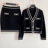 2021 verão vestidos casuais camisola skir dois pedaços saia de mangas curtas de malha pano de luxo roupas de designer de luxo roupas causais desgaste roupas de tricô 2 desenhos diferentes-2