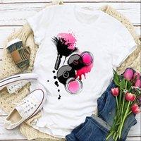 Frauen Grafikdruck Vogue Make Up Mode Finger Nagel Sommer T-shirt Tops Lady Damen Kleidung Kleidung T Shirt T Shirt