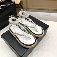 Prowow Tasarımcı Marka Bayanlar Halat Örgülü Sandalet Zincir Deri Şeker Renk Yaz Ayakkabı Ayak Bileği Sapanlar
