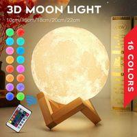 3D LED Gece Büyülü Ay Işıkları USB Moonlight Masa Lambası Dokunmatik Sensör Değişim Şarj Edilebilir Dim Renkler Ev Xmas Dekorasyon Için Stepless