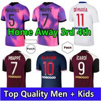 Maillots de Football 20 21 كرة القدم جيرسي 2021 mbappe icardi قميص الرجال الاطفال مايلوت القدم kimpembe دي ماريا كين فيراتي القمصان الرابعة
