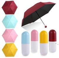 Mini protetor solar à prova de chuva à prova de chuva guarda-chuva dobrável anti-UV à prova de vento Pequeno guarda-chuvas de bolso compacto caso para Viagens Chuva engrenagem NHD7392