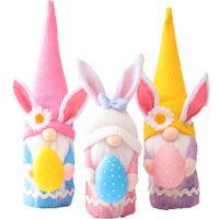 Ornamenti di Pasqua fatti a mano Peluche Bambola Gnome Gnome Bunny con uovo di Pasqua Home Decor Regali di primavera per bambini JK2102XB