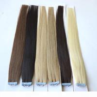 """20 """"fita em extensões de cabelo humano 40 pcs lote duplo tape tape extensões 100g lote 9 cores disponíveis"""