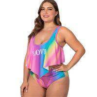 분할 러브 스팟 수영복 뚱뚱한 여자를 뚱뚱한 여자 비료를 추가 XL 여성의 수영복 혼합 배치 한 세대