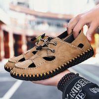 Olomm Yaz Erkekler Sandalet Işık Nefes Sahil Ayakkabı Orijinal Zapatos De Hombre Yetişkin Yüksek Kaliteli Erkekler Rahat Ayakkabılar Düz Ayakkabı Kama K0WQ #