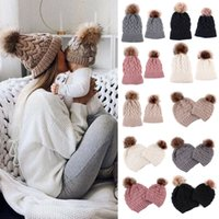 Family Matching hat Mother Baby Kids Daughter Son Warm Hat Matching Knitting Wool Pom Bobble Hat Winter Warm Beanie Cap
