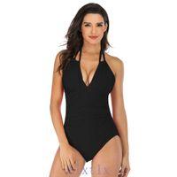 2020 ملابس السباحة المرأة الرقبة المرأة ملابس السباحة قطعة واحدة ملابس السباحة شاطئ بيكيني