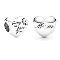 La serie della mamma serie 925 in argento sterling ha inciso fortunato a farti avere mamma perline cardiache adatta il braccialetto originale Pandora Charms Bracciale gioielli
