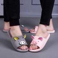 Encantadora pareja suave dibujos animados zapatillas sólido cerdo no deslizamiento zapatos lindos planos casuales sandalias casero interior baño dulce verano mujeres J575 #