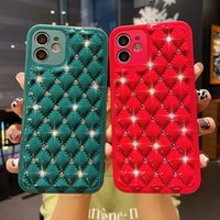 artifical Lambskin with rhinestone cell Phone Cases Full Lens Proction Soft TPU for iPhone 13 12 11 Pro Max XR XS X 7 8 Plus rhombus luxury elegant 3d case women