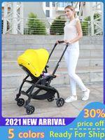 Cochecitos # 2021 Cochecito de bebé ligero ligero de moda Cochecito de nacimiento plegable Puede sentarse acostarse con el respaldo ajustable mecánicamente