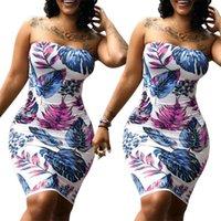 여성 여름 민소매 드레스 새로운 꽃 인쇄 된 Strapless Bodycon 나이트 클럽 파티 칵테일 미니 드레스 플러스 사이즈 랩 가슴 드레스 S-3XL