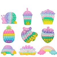 Festa Favor Arco-íris Cor Fidget Toy Push Pops Bolha Anti-Stress Relief Toys Sensory