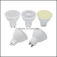 Tüpler Işıkları Aydınlatma4W 5 W 7 W GU10 MR16 Bombillas LED Lamba Lampada Spot COB 2835 SMD 60 LEDS LUZ Ampüller Aydınlatma Damla Teslimat 2021 DS