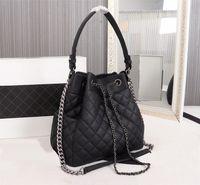 5A+ bucket hand bags original imitation brand designs women handbag sheepskin leather shoulder bag fashion tote wallet With drawstring luxury purse silver chain