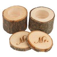 1 세트 2pcs 장식 미스터 미스터 빈티지 초라한 세련된 소박한 결혼 반지 베개 베어러 홀더 상자 나무 결혼식 장식